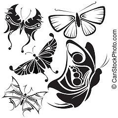papillons, 2, ensemble, tribal