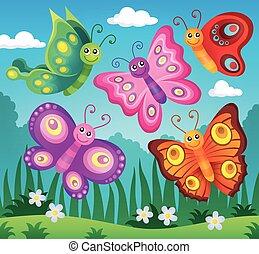 papillons, 2, thème, image, heureux