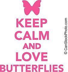 papillons, amour, calme, garder