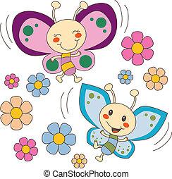 papillons, amour, fleurs