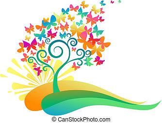 papillons, arbre, levers de soleil
