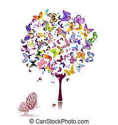 papillons, arbre