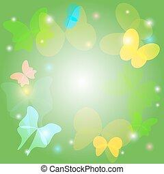 papillons, arrière-plan vert