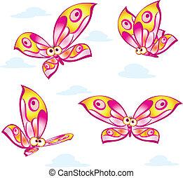 papillons, dessin animé, coloré