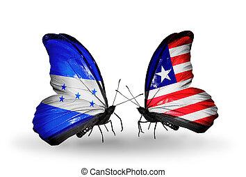 papillons, drapeaux, deux