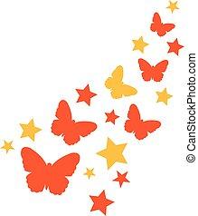 papillons, ensemble, étoiles