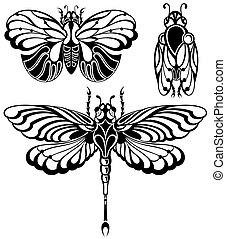 papillons, ensemble, silhouettes