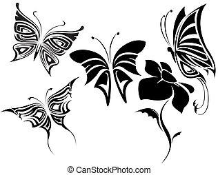 papillons, ensemble, tribal