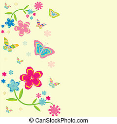 papillons, fleurs, card., fond