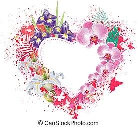 papillons, fleurs, carte voeux