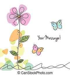 papillons, fleurs