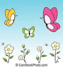 papillons, fleurs, dessin animé