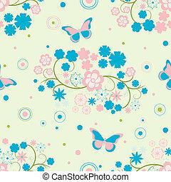papillons, fleurs, fond