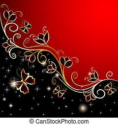 papillons, fleurs, ornement, fond, or