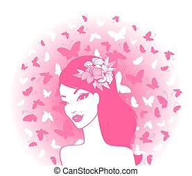 papillons, girl, jeune