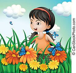 papillons, jardin, girl