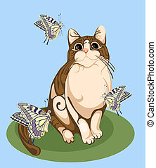 papillons, jouer, chat