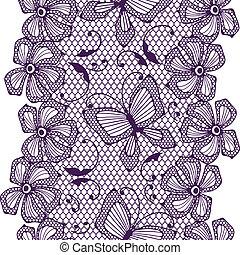 papillons, modèle, flowers., dentelle, seamless