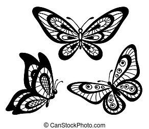 papillons, noir, blanc, dentelle