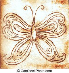 papillons, papier, vieux