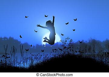 papillons, sauter, coucher soleil, femme, paysage, 3d