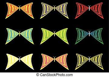 papillons, silhouettes, ensemble