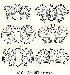 papillons, vecteur, ensemble