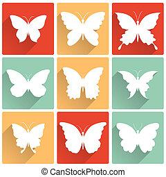 papillons, vecteur, ensemble, isolé, icônes
