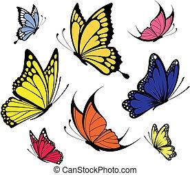 papillons, vecteur