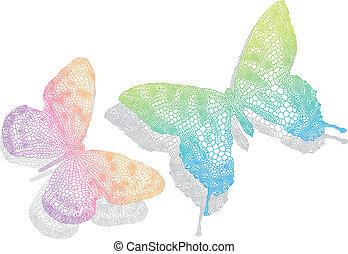 papillons, vecteur, ombre