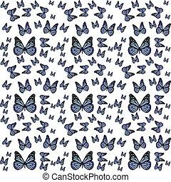 papillons, vecteur, pattern.