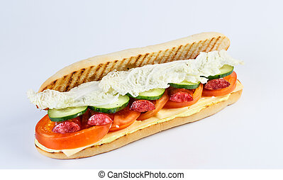 Papini with sausage on a white background.
