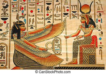 papiro, con, elementi, di, egiziano, storia antica