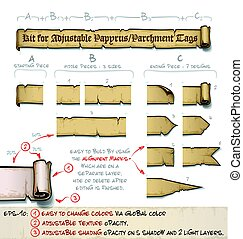 papiro, etichette, orizzontale, -, faccia lei, kit