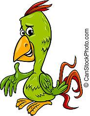 papoušek, ptáček, ilustrace, karikatura