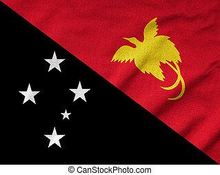 papouasie, nouveau, drapeau, a froissé, guinée