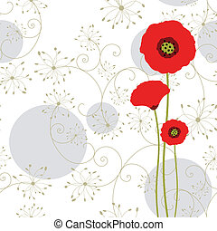 papoula, abstratos, cartão cumprimento, vermelho