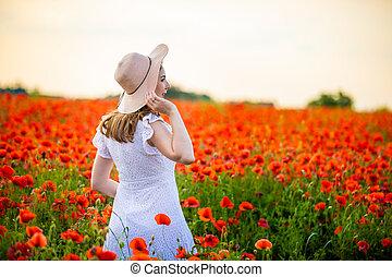 papoula, ficar, chapéu, república, desfrutando, pôr do sol, tcheco, mulher, campo