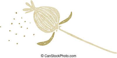 papoula, flor, caricatura, secado