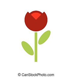 papoula, flor vermelha, isolated., flores, emblema, logotipo