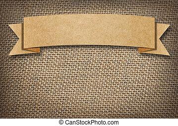 papp, etikett, utrymme, bakgrund, säckväv