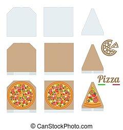 papp, slice., varm, skiva, italiensk, vit, boxas, smaklig, frisk, vara, pizza, bakgrund., branding., isolerat, pizza, använd, klassisk, design, mockup