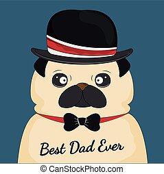 pappa, ever., card., mops, hälsning, hund, pappa, hatt, dag...