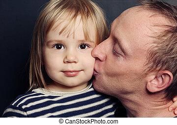 pappa, familj, henne, barn, father., kyssande, förtjusande, baby, älskande