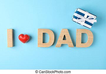 pappa, inskrift, gjord, kärlek, gåva, hjärta, utrymme, trä, text boxa, färg, dekorativ, bakgrund, breven, röd