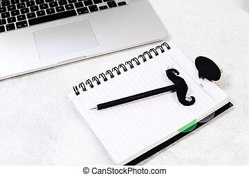 pappa, kontor, förfäder, -, komposition, day., desk., dag, lycklig