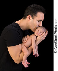pappa, kyssande, nyfödd, son