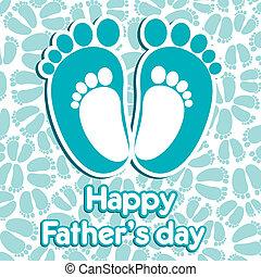 pappa, lycklig, dag, hälsning