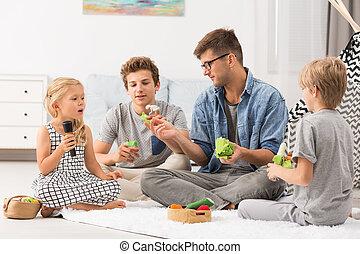 pappa, och, barn spela, med, finger, puppets