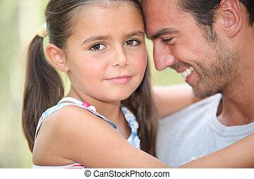 pappa och dotter, delning, a, ögonblick, tillsammans